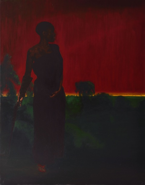 Yaa Asantewaa inspecting the dispositions at Ejisu_oil on canvas_2012_210x165cm