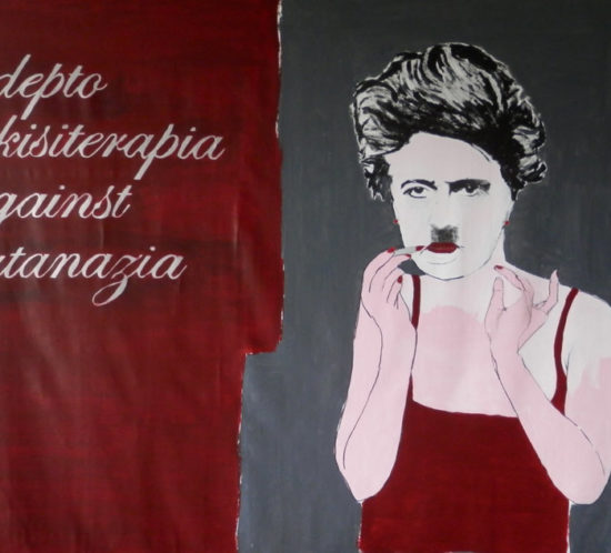 Adepto Nkisiterapia against eutanazia. 2012-2013. 190 x 300 cm. MIXED MEDIA ON CANVAS